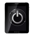 Glass power button icon on abstract tablet vector image vector image