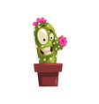 laughing cactus character with pink flowers in a vector image vector image