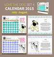 LOVE THE DOG CALENDAR 2015 SET 4 vector image vector image