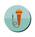 microphone with cable in round frame vector image vector image