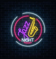 neon jazz cafe with saxophone glowing sign in vector image vector image