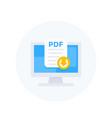 pdf download to computer icon vector image vector image