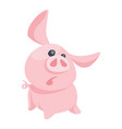 pink surprised pig in cartoon style vector image vector image