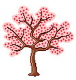 pixel art sakura tree detailed isolated vector image