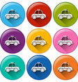 Round buttons with a taxi vector image vector image