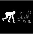 runner preparing to start running start running vector image vector image