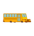 school bus contour style isolated yellow bus for vector image