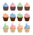 set colorful cupcake icons vector image vector image
