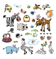 set of childish wild animals vector image vector image