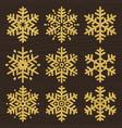 set of golden glittering snowflakes line stile vector image