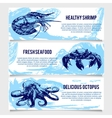 Set of vintage Seafood banners vector image