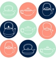 set of white silhouettes teapots icons vector image vector image