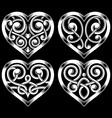 set ornate heart shape vector image