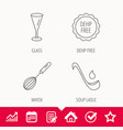 soup ladle glass and whisk icons vector image vector image