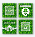 st patricks day greeting card set vector image