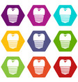 tooth implant icon set color hexahedron vector image vector image