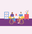two people have a meeting in room vector image