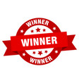 winner ribbon winner round red sign winner vector image vector image