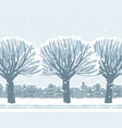 Winter landscape with snow-covered trees in town