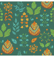 Seasonal Seamless Pattern with Leaves and Flower vector image
