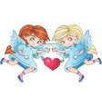 Angel girls isolated with heart vector image