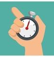 hand holds chronometer sport design vector image