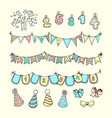 party freehand doodles vector image
