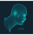 3d Grid Human Head Geometric Face Design vector image vector image