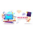 agenda job organization and schedule banner vector image