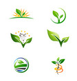 Agriculture farm plant grow logo set