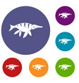 aquatic dinosaur icons set vector image vector image