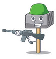 army character of metallic meat tenderizer hammer vector image vector image
