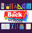 back to school banner with learning accessories vector image vector image