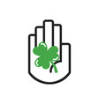 black line hand symbol holding lucky shamrock leaf vector image
