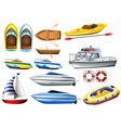 Boats and varying sizes vector image