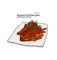 braised chicken feet chinese food hand draw vector image vector image