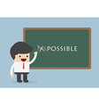 Businessman changing the word impossible into poss vector image vector image