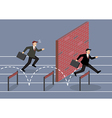 Businessman jumping over hurdle competition vector image vector image