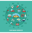 Car Wash Round Composition vector image vector image