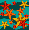 Card with starfishes on wavy background vector image vector image