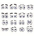 cartoon funny eyes cartoon faces set vector image