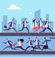 cartoon men and women run to work vector image vector image