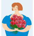 Cheerful kind woman with bouquet of roses Exciting vector image