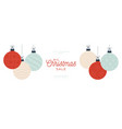 christmas sale card with hanging bauble vector image