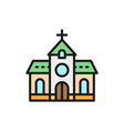 church chapel temple flat color line icon vector image
