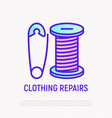 clothing repair thin line icon pin and thread vector image vector image