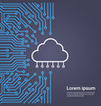 cloud database over computer chip moterboard vector image vector image