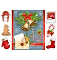 Collection of Christmas traditional objects vector image