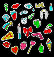 colorful set doodle fashion patch badges vector image