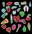 Colorful set of doodle fashion patch badges